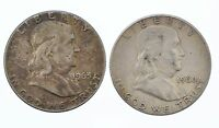 LOT OF 2 UNGRADED CIRCULATED HALF DOLLAR 50 CENT BEN FRANKLIN SILVER 1960 1963