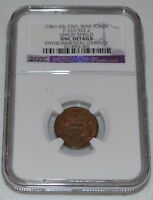 1861   1865 CIVIL WAR TOKEN F 163/352A GRADED BY NGC AS UNC DETAILS