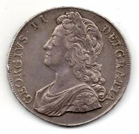 1741 CROWN GEORGE II YOUNG LAUREATE BUST ROSES IN ANGLES