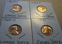 1960 LINCOLN CENT P&D UNCIRCULATED SMALL AND LARGE DATE 4 COIN SET