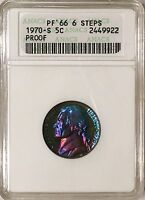 1970 S PROOF JEFFERSON NICKEL .05C ANACS PR66 MONSTER RAINBOW TONED COLOR WOW