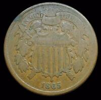 HHC TWO CENT PIECE, 2C. 1865 INV. A093