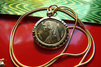 GOLD PLATED NUGGET BEZELED CLEOPATRA EGYPTIAN COIN PENDANT & 24
