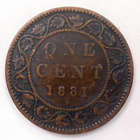 1881H LARGE CENT VG AFFORDABLE  UNDERVALUED DATE VICTORIA OLD CANADA PENNY