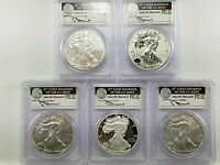 2011 25TH ANNIVERSARY SILVER EAGLE 5 COIN SET MERCANTI SIGNED PF/MS70 FS
