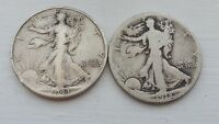 LOT OF 2 ANTIQUE US WALKING LIBERTY HALF DOLLAR SILVER COINS, 1918, 1943-D, 2