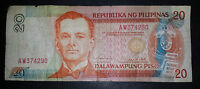 PHILLIPINES 20 PISO BANKNOTE SERIAL AW374290  1935