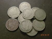 LOT OF [10] LIBERTY NICKELS, CIRCULATED, 1883,1887,1893,AND [7] MORE