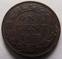 1897 CANADA ONE CENT AU VALUABLE COIN IN THIS GRADE ONLY 1,500,000 MINTED