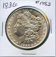 1886 $1 MORGAN SILVER DOLLAR. CIRCULATED. LOT 1676