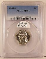 CERTIFIED 1968 S JEFFERSON NICKEL IN PCGS MS65 MS 65