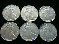 , 6 WALKING LIBERTY HALF DOLLARS , ASSORTED DATES. 1940'S