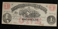 $1 VIRGINIA TREASURY NOTE   CIVIL WAR ERA ISSUE   JULY 1862