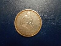 1847O SEATED LIBERTY HALF DOLLAR VF DETAILS