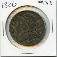 1826 50C CAPPED BUST HALF DOLLAR. CIRCULATED. LOT 1606
