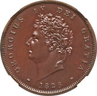 GREAT BRITAIN 1826 GEORGE IV PROOF PENNY NGC PF 65 BN