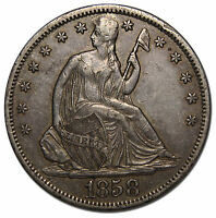 1858S SEATED SILVER LIBERTY HALF DOLLAR 50 COIN LOT MZ 3460