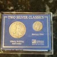 1940'S WALKING LIBERTY HALF AND MERCURY DIME SET