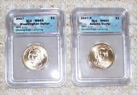 2007 WASHINGTON & ADAMS $$ MINT STATE 65-BOTH ERRORS1 MISSING EDGE LETTER,1 DBL EDGE ICG