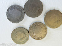 5 LIBERTY V NICKEL COINS FROM 1903 1905 1906 1907 ANTIQUE COIN COLLECTION MONEY