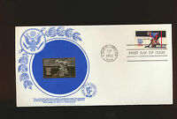 HOCKEY GOLD FOIL FIRST DAY COVER 1798 WINTER OLYMPICS LAKE PLACID 1980 UNADDRES