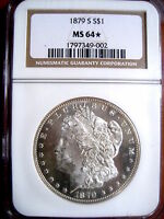 1879-S MORGAN SILVER DOLLAR, CERT: NGC MINT STATE 64-STAR - DMPL OBV. FROST-LIKE