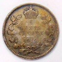 1916 FIVE CENTS SILVER VG   TONED AFFORDABLE BETTER GEORGE V OLD CANADA 5