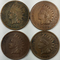 INDIAN HEAD CENTS 1898 1901 1906 1907   NICE VARIETY OF US COINS