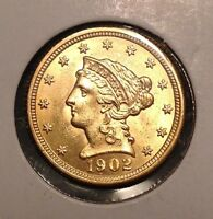 HIGH GRADE 1902 LIBERTY HEAD $2 1/2 GOLD COIN