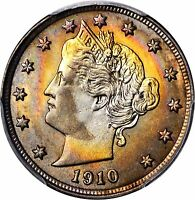 1910 LIBERTY V NICKEL NGC PCGS MINT STATE 65 LUSTROUS RAINBOW TONING COLLECTORS COIN