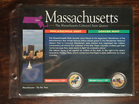 2000  MASSACHUSETTS COLORIZED STATE QUARTER WITH DISPLAY BOARD/COA