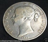 GREAT BRITAIN CROWN  . KM 741  1844 YOUNG BUST  OF QUEEN  VICTORIA