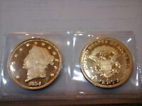 1854 S DOUBLE EAGLE GOLD COIN PROOF UNCIRCULATED COPY   LIBERTY HEAD DESIGN