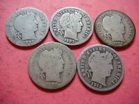 LOT OF 5 BARBER DIMES 1902 O 1903 1906 1907 1912   9347