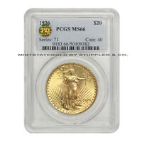 1926 $20 SAINT GAUDENS PCGS MS66 GEM PQ APPROVED GOLD DOUBLE EAGLE COINSTATS