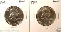 1960 AND 1963 50C PROOF FRANKLIN HALF DOLLARS   2 COIN LOT