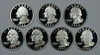 1992   1998 S WASHINGTON SILVER PROOF QUARTERS  TOTAL OF 7 COINS  SHIPS FREE