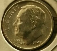 CHOICE/GEM BRILLIANT UNCIRCULATED 1947 S SILVER ROOSEVELT DIME