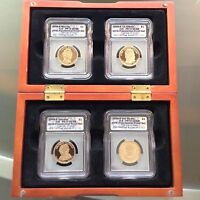 2008-S PRESIDENTIAL PROOF 4-COIN SET ICG PR70 INCL/BEAUTIFUL WOOD DISPLAY CASE