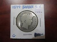 1894 90 SILVER BARBER SILVER HALF DOLLAR CONDITION F UNGRADED BULLION ITEM1564