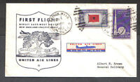 US 1945 FIRST FLIGHT NEW ENGLAND-PACIFIC COAST UNITED AIRLINES AIR MAIL COVER