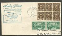 US 1948 FIRST FLIGHT AIR MAIL SERVICE BY HELICOPTER LOS ANGELES AREA LONG BEACH