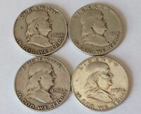 FRANKLIN 90 PERCENT SILVER HALVES   LOT OF 4 1950,1951,1952,1954