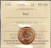 1996 SMALL CENT CERTIFIED SELECT MS BU RED  STUNNING GRADED CANADA PENNY