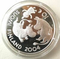 FINLAND 2004 10 EURO SILVER COIN   MOOMIN TOVE JANSSON   AUTHOR   PROOF