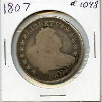 1807 50C DRAPED BUST SILVER HALF DOLLAR. CIRCULATED, LOT 726