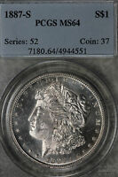 BETTER DATE 1887-S MORGAN DOLLAR GRADED MINT STATE 64 BY PCGS LIGHT PROOF LIKE SURFACES