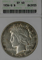 BETTER DATE 1934 S PEACE DOLLAR   ANACS EF40