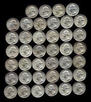 ONE ROLL OF WASHINGTON QUARTERS 1960 64  90 SILVER  40 COINS  LOT E94