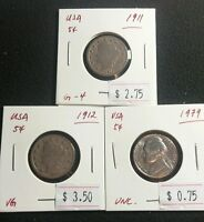 USA 5 CENT 1911 1912 1979 LIBERTY HEAD AND JEFFERSON NICKELS  COINS LOT312